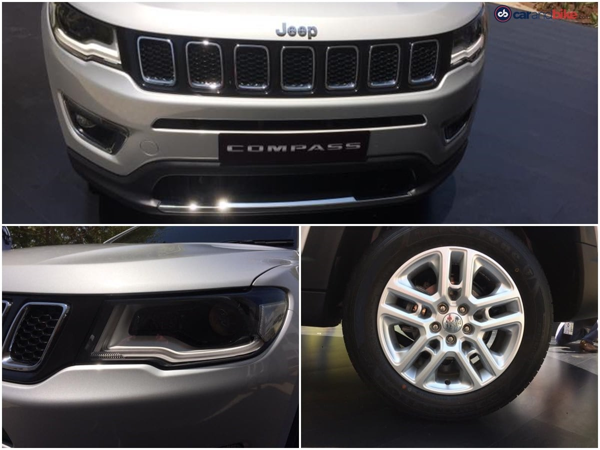 The production version of the Jeep Compass will come with projector headlamps and LED daytime running lights. Up front, the SUV gets Jeep's signature grille design and the SUV also features a set of stylish alloy wheels.