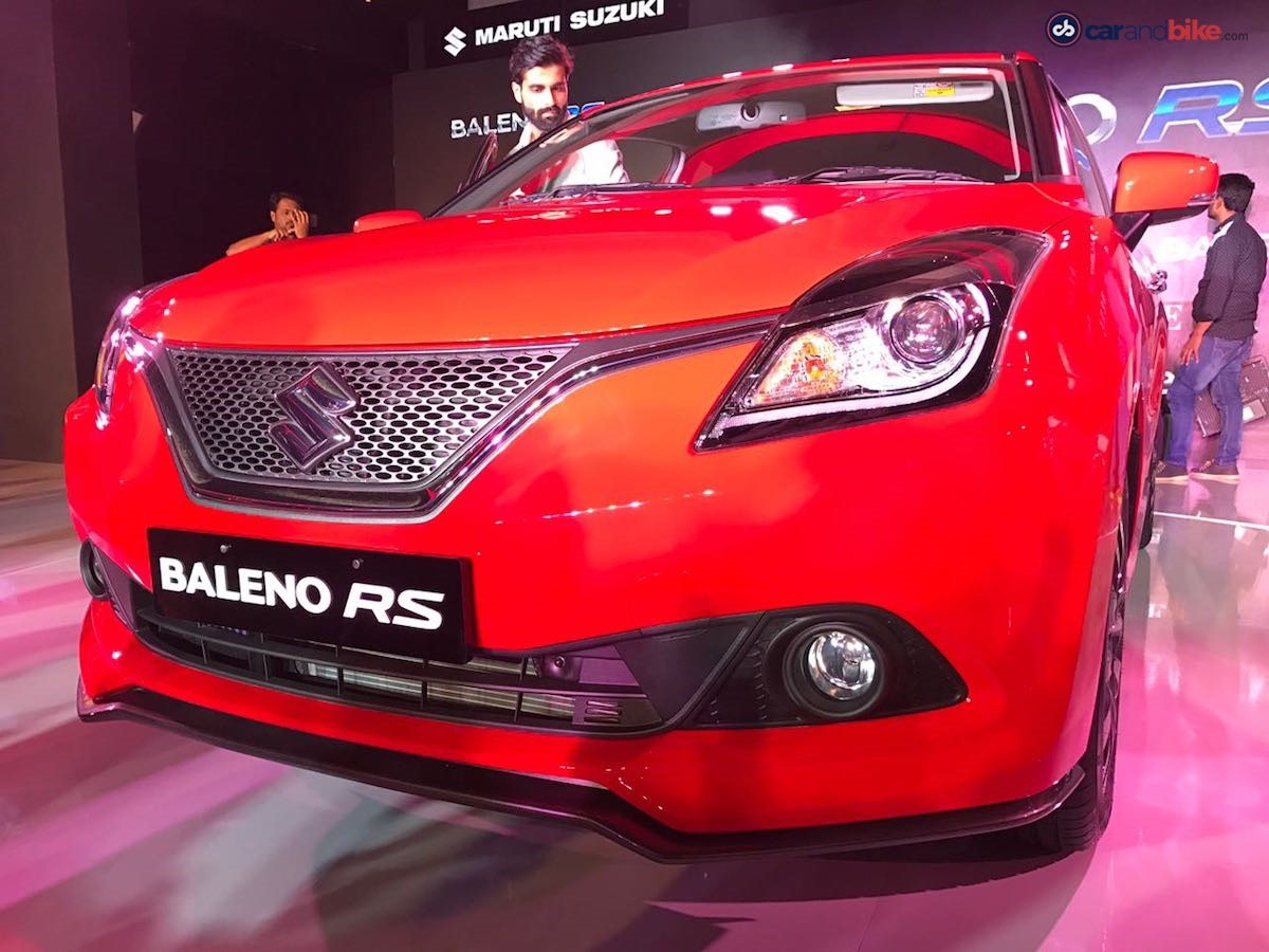The front bumper has been tweaked on the Baleno RS for a sportier look. The front lip spoiler is finished in black and adds to the sporty appeal