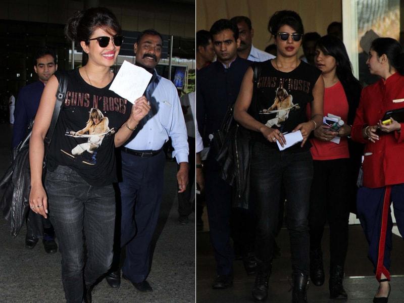 Battling Stormy Weather? 'FBI Agent' Priyanka Chopra Lands in Mumbai