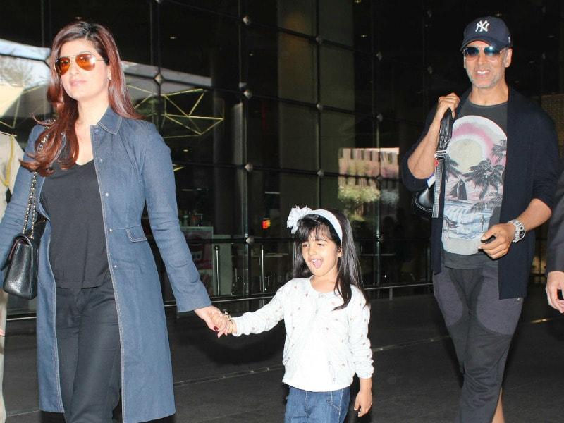 Akshay Kumar, Twinkle Khanna Touch Down In Mumbai
