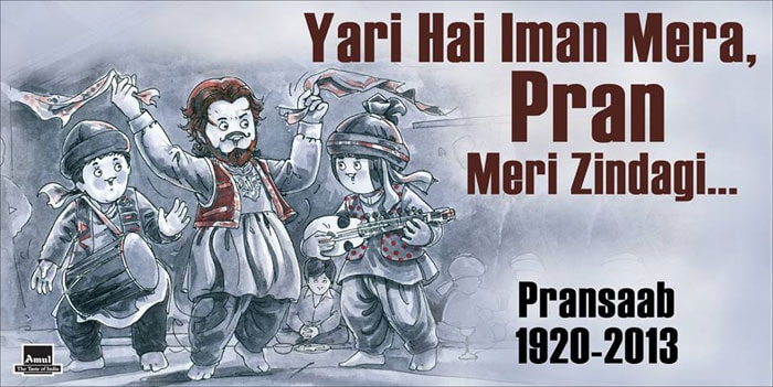 Farewell Pran, says Amul