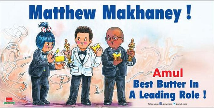 Amul toasts Oscar winner Matthew 'Makhaney'