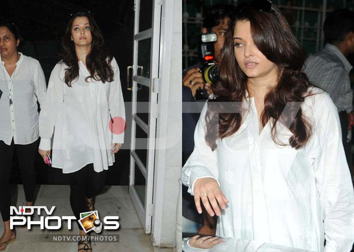 Aishwarya at prayer meet for Ashok Mehta