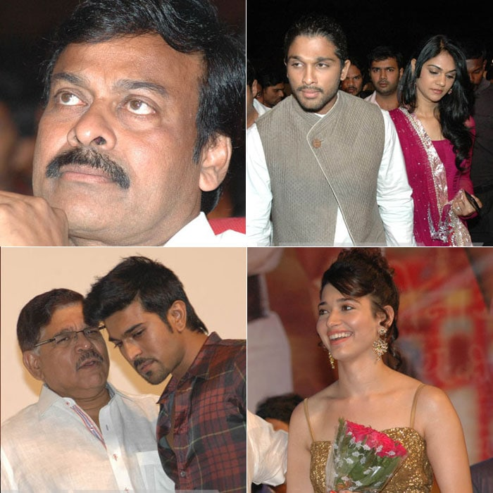 Chiru, Ram Charan, Allu Arjun at Badrinath audio launch