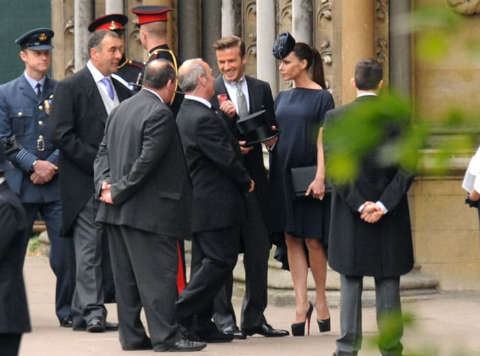 Beckhams arrive for the wedding