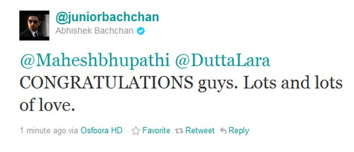 Celebs congratulate Lara Dutta and Mahesh Bhupathi