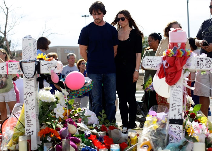 Batman star Christian Bale visits victims of Colorado shooting