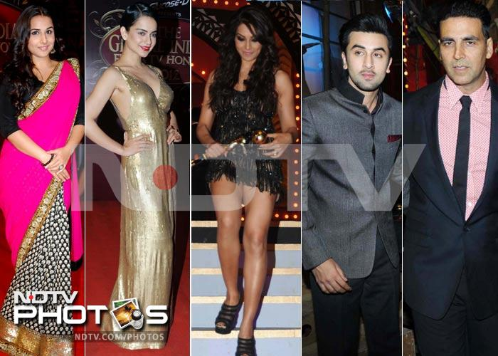 Backless gowns, graceful saris at awards show