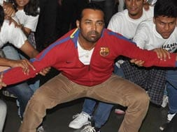 Photo : Leander Paes' dance moves off court