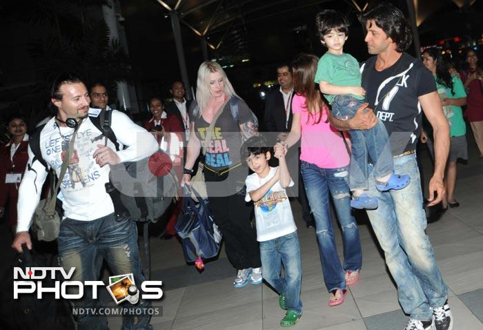 A grand welcome from wife, sons for Hrithik