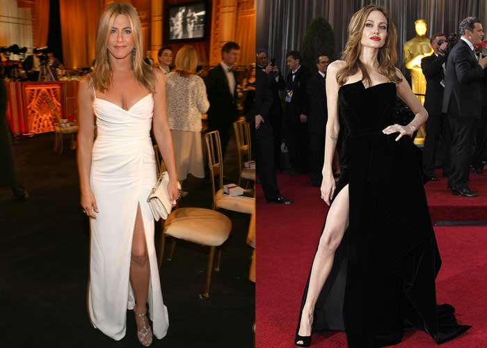 Jen flashes left leg, Angie's right had better take notice