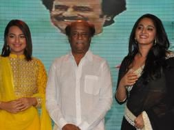 Photo : A Note-Worthy Lingaa Party: Rajinikanth, Sonakshi, Anushka