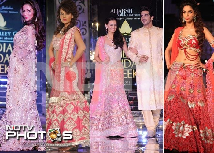 Malaika, Mallika steal the show at India Bridal Week
