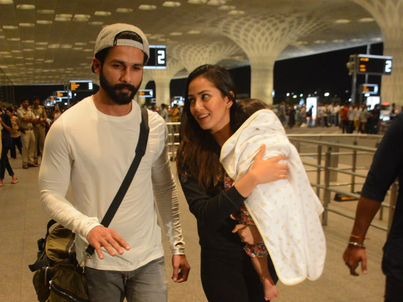 Baby Misha Flies With Parents Shahid And Mira.
