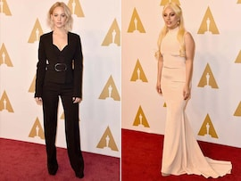 What a Sight! Jennifer, Lady Gaga at Oscars 2016 Luncheon