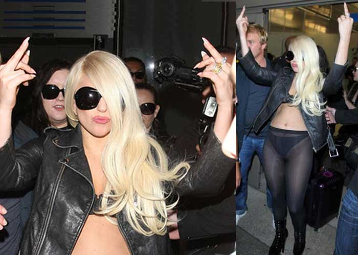 Lady Gaga flips off the paparazzi