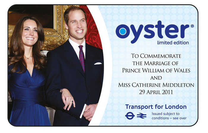 Around 750000 Royal Wedding Oyster cards will be available from 21 April