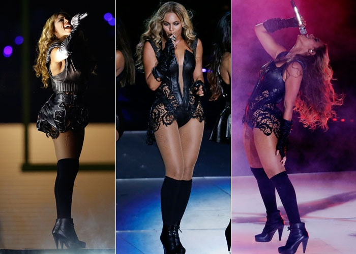 Beyonce is bootylicious in leather and lace