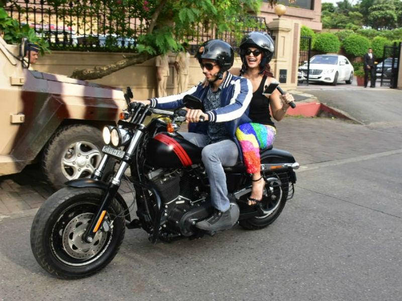Risky Sidharth And Sundar Jacqueline Enjoy A Bike Ride In Mumbai
