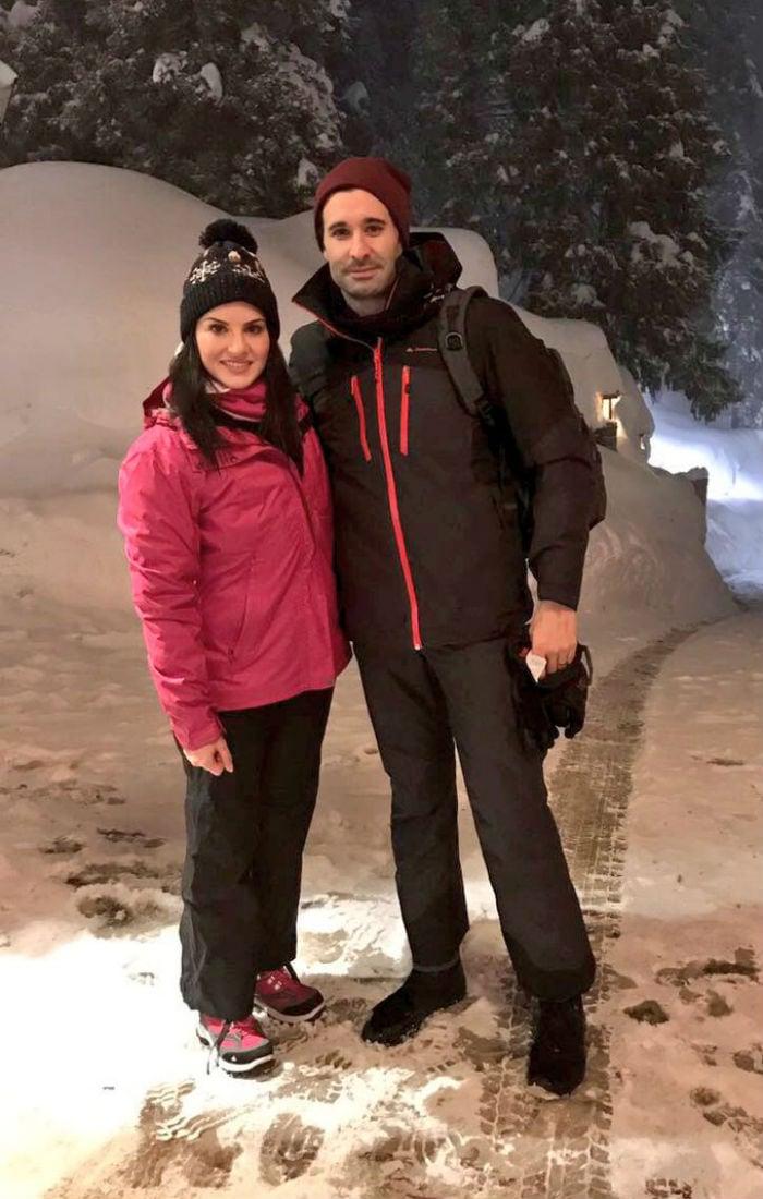 पति के साथ बर्फीली वादियों में सनी लियोनी का हॉलीडे