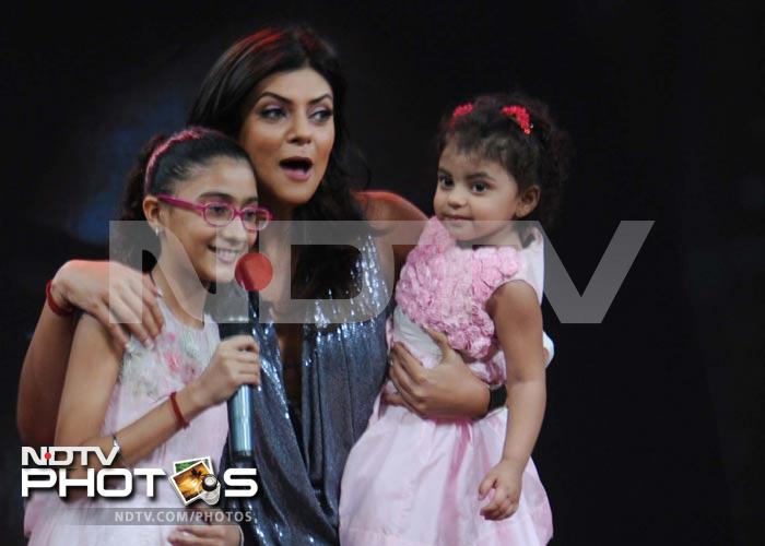 Sushmita with her daughters on It's My Life