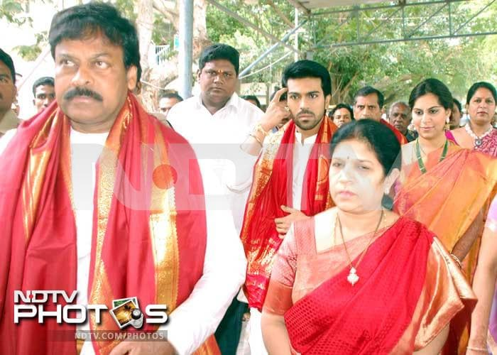 Chiranjeevi, Ram Charan and Upasana pray at Tirumala