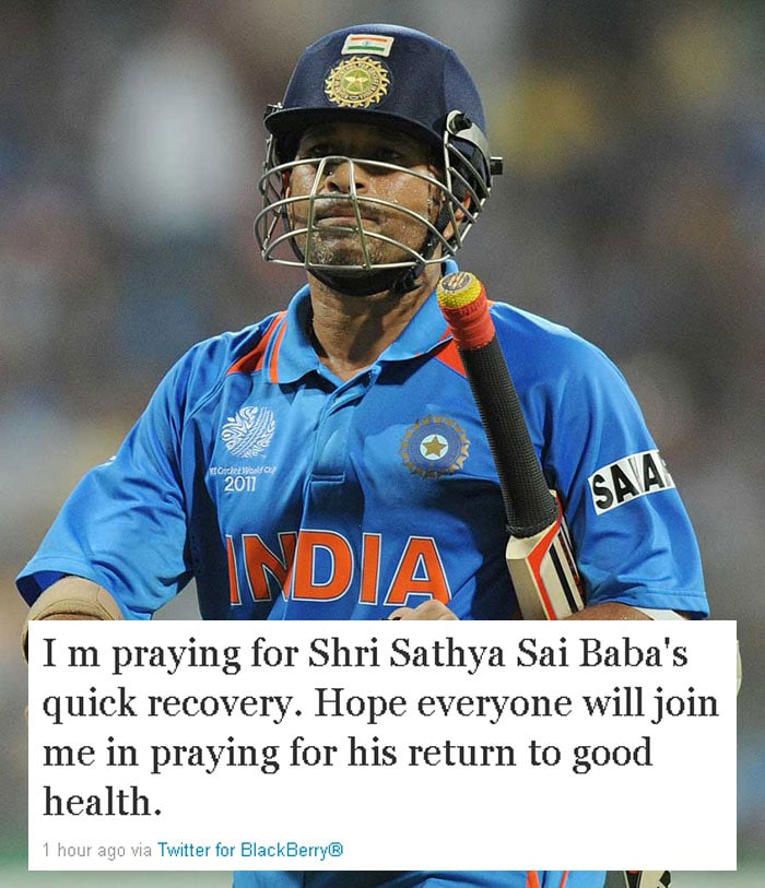 Pray for Sai Baba, tweets Sachin