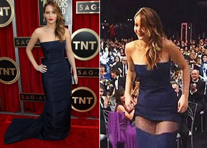 Oops! Jennifer Lawrence's dress seems to be tearing into half