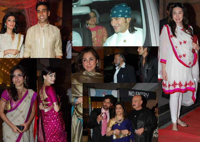 Saif, Kareena, Akshay  at wedding bash