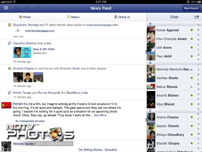 Exclusive First Look : The Facebook iPad App