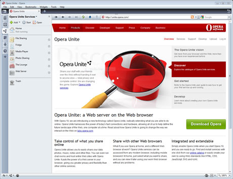 Opera Unite: Web server on a Web browser