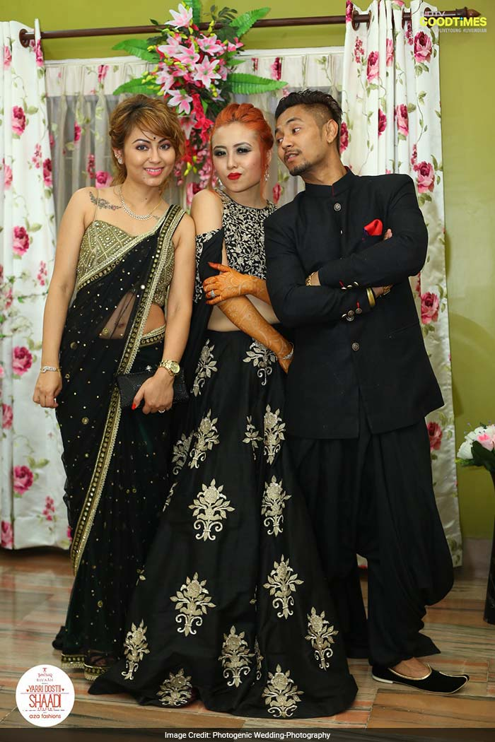Angshuman, Viddya and his sister, Bonnie who plays story teller on Yarri Dostii Shaadi's, are all set for their cocktail party in their Aza outfits.