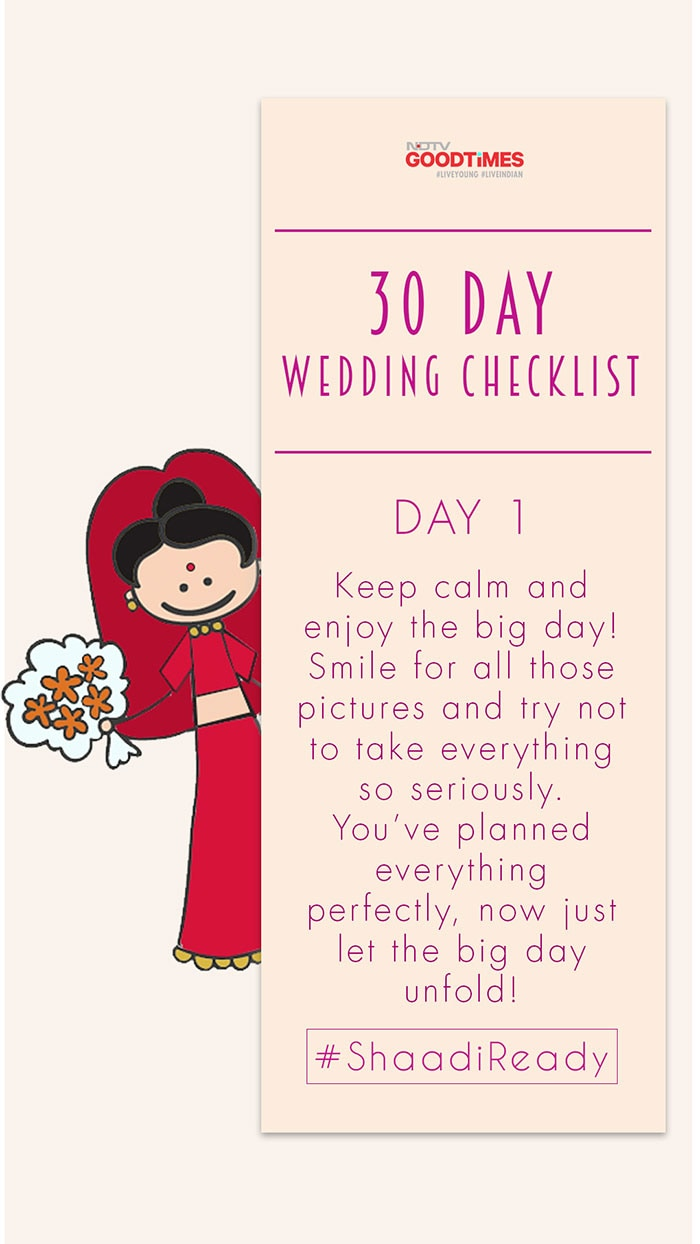 30 Day Wedding Checklist