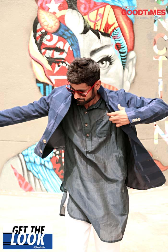 Prashant busts a move in an Abraham & Thakore ensemble