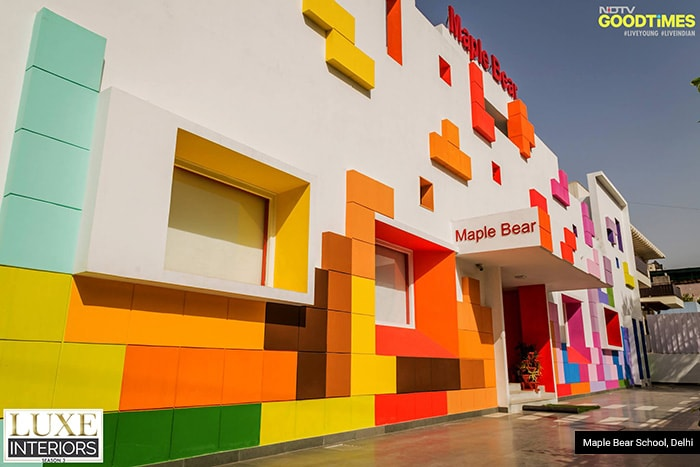 Bright colors have the power to grab eyeballs instantly. And when it comes to holding the attention of children that is all you need. Maple Bear School in Delhi, drew inspiration from a game of Tetris blocks, and made its campus look just like one to make learning fun for the little ones.
