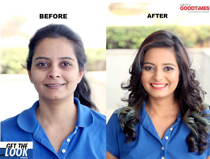 Srishti before and after her hair and makeup transformation