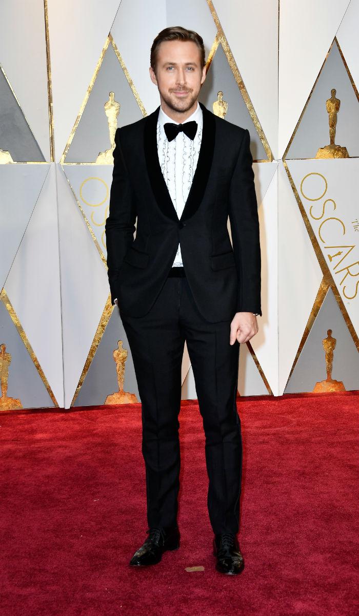 Ryan Gosling: Crisp tux and a flowy ruffled shirt, Ryan Goslings in ... Ryan Gosling