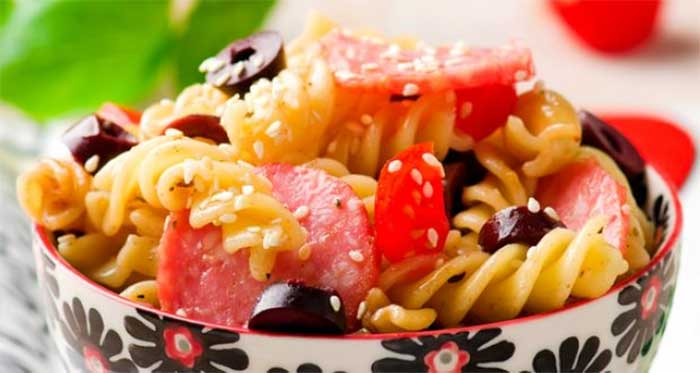 Pasta Sesame Salad: Take different pastas in a variety of shapes, some tomato sauce, some cheese and sesame seeds! You have a decadent warm salad that is almost like a meal without the added oil and calories. Yum yum yum!