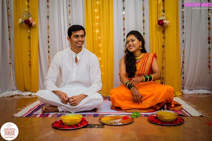 Supriya and Abhijeet wait to be slammed with Haldi by friends and family.