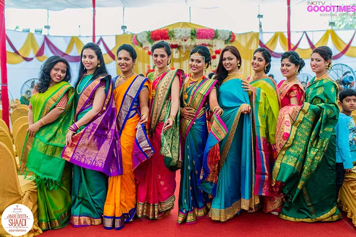 The desi girls all dressed up in their traditional outfits at Abhijeet and Supriya's wedding!