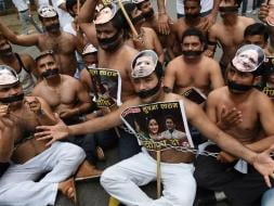 Photo : 5 Pics: Angry and Shirtless, Congress Workers Protest Against BJP