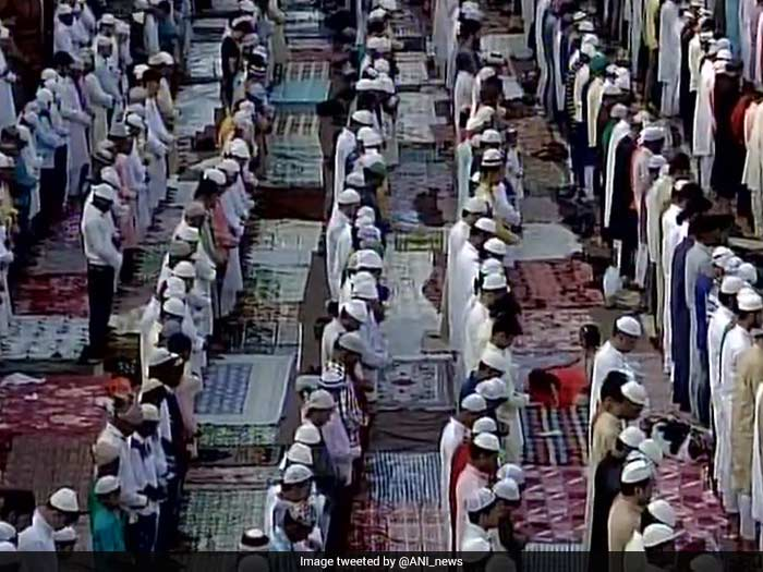 People gather to offer prayers at Delhi's Jama Masjid on Eid.
