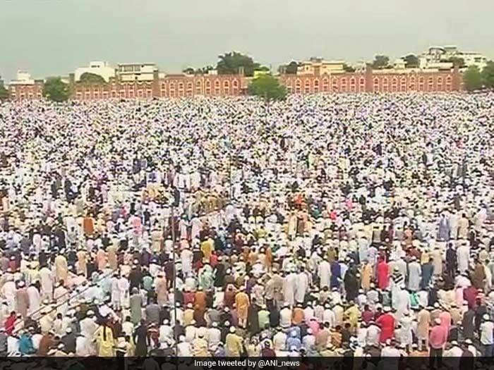 People offer Namaz at Eidgah in Bhopal on Eid.