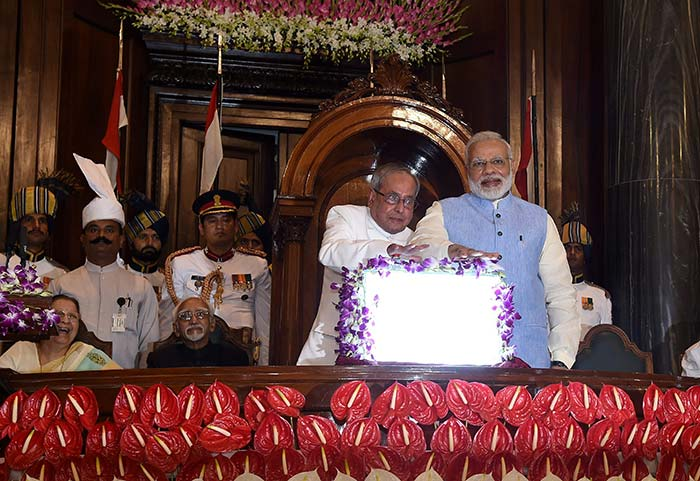 Shortly after President Pranab Mukherjee concluded his speech, he and PM Modi jointly launched the GST.