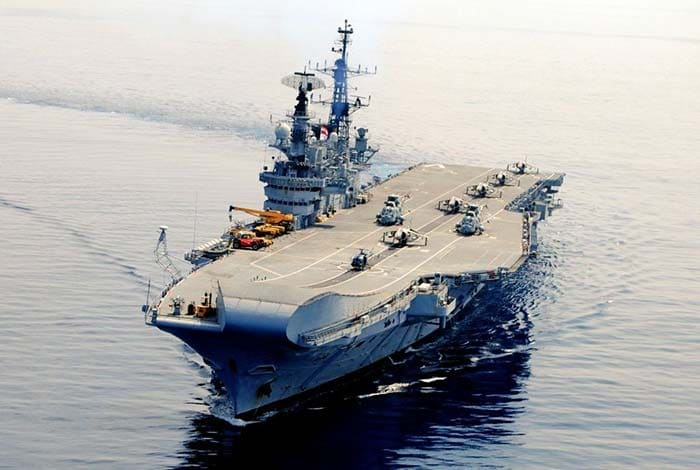 The motto of the outgoing warship, INS Viraat was 'Jalamev Yasya, Balmev Tasya' (Sanskrit, meaning - One Who Controls the Sea is All Powerful)