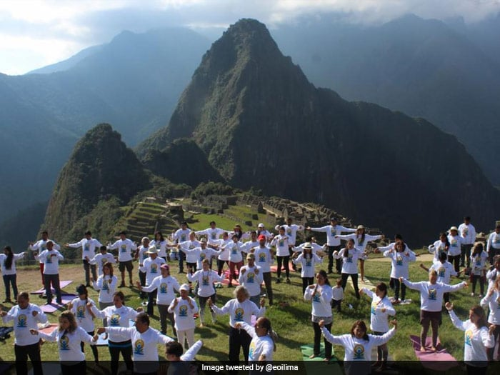 World Yoga Day 2017: People performing in Machu Picchu.