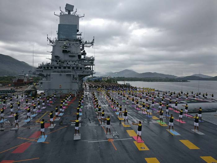 World Yoga Day 2017: Yoga onboard INS Jalashwa and INS Kirch in the Bay of Bengal.
