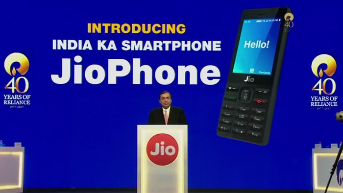 RIL Chairman and Managing Director Mukesh Ambani's giving speech at the 40th annual general meeting of Reliance Industries