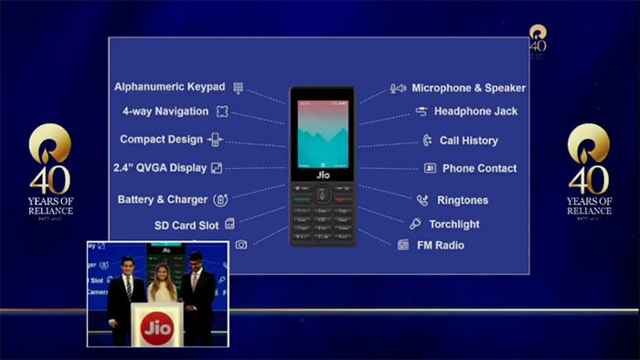 Akash and Isha Ambani revealed the phone's support voice commands, along with standard feature phone functionality