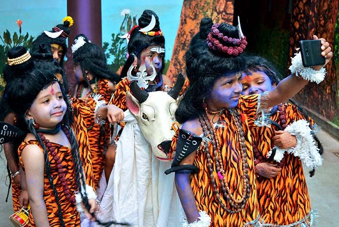 Children dressed as lord Shiva celebrating Maha Shivaratri in Bhopal. (PTI Photo)